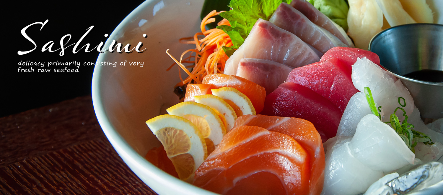 Sashimi is a Japanese delicacy primarily consisting of very fresh raw seafood.